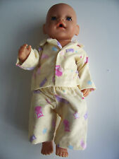"Handmade doll's pyjama set owls to fit 17"" Baby Born or similar"
