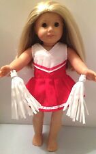 """Doll Clothes Made for American Girl or 18"""" Dolls-Red & White Cheerleader"""