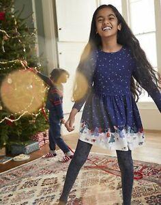 Joules Girls Merrie Mock Layer Print Dress - Starry Woodland Sky - 6Yr