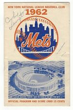 1962 NY METS Program Signed by COOKIE LAVAGETTO