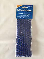 BNIP Girls School Mates Brand Smart Royal Blue Stretch Lace Head Band Hair Tie