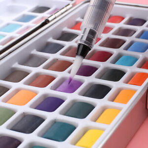 PORTABLE PEARLESCENT IRIDESCENT SOLID WATERCOLOR PIGMENT PAINT SET ORNATE