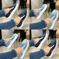 Women's Denim Slip On Loafers Pumps Ladies Summer Casual Sneakers Shoes Flat !~