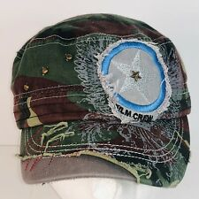 Film Crew Hat Cap Camouflage Distressed Applique Studded Strapback