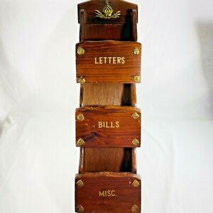 Vintage Wooden Letter Bills Mis Holder Mail Organizer Wall Mount Metal Accents