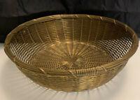 "High quality woven brass basket 10"" round"