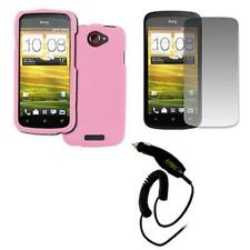 Pink Hard Rubberized Case Cover+Screen Protector+Car Charger for HTC One S