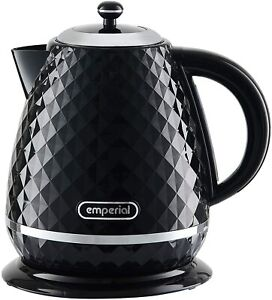 Emperial Electric Kettle Cordless Diamond Texture Fast Boil 1.6L 3000W Black