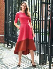Boden Wren Ponte Midi Dress J0229 UK 14 R EU 40 US 10 Pop Peony / Conker