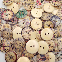50Pcs 20mm Vintage Wooden Buttons Round 2-Holes Sewing Scrapbooking DIY IC1U