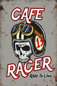 Cafe Racer Skull Motorcycle Helmet Motorbike Small Metal/Steel Wall Sign
