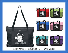BETTY BOOP HEARTS PERSONALIZED NAME TOTE PURSE TRAVEL GYM SPORTS SCHOOL BAG ZIP