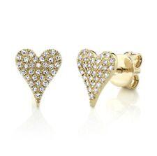 14K YELLOW GOLD DIAMOND PAVE HEARTS STUDS EARRINGS #756