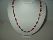 "Pretty 22"" Vintage Goldtone Red & Clear Venetian Czech Art Glass Bead Necklace"