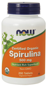 NOW FOODS Spirulina Certified Organic 500mg 200 Tablets FREE WORLDWIDE SHIPPING