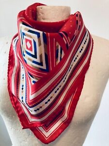 HANSA Women's 80's Red Scarf With Small White Triangles Size 30x29 Inches