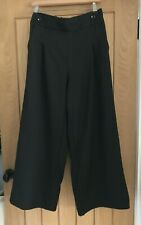 QED Black Palazzo Pants/Wide Leg Trousers with Front Buttons, Size Large, BNWT