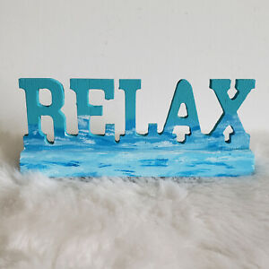Handpainted Home Decor Wooden Sign RELAX Ocean Theme