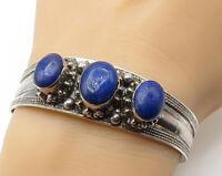 BALI 925 Silver - Vintage 3 Stone Lapis Lazuli Face Detail Cuff Bracelet - B4028