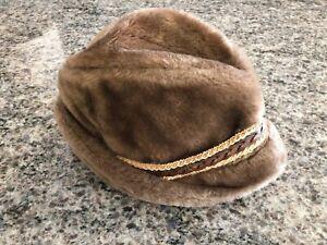 "Vintage STETSON Brown Faux Fur Tyrolean Brown Winter Hat 22"" Diameter"