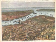 1883 GERMAN MAP VIEW LOWER MANHATTAN,BROOKLYN BRIDGE POSTER ART PRINT 2961PY