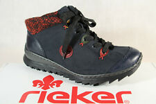 Rieker Women's Boots M62A4 Ankle Boots Lace up Boots Blue Rv New