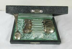 Antique Vintage Germany Silver .800 Spoon Set Of 6 In Original Case Town Greiz