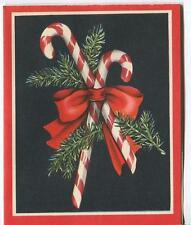 VINTAGE CHRISTMAS PEPPERMINT CANDY CANE DECO NOUVEAU MID CENTURY GREETING CARD