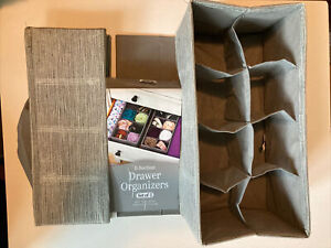 Lot Of 2 8-section Fabric Drawer Organizers Gray
