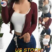 Women Winter Warm Knit Cardigan Tops Hooded Casual Slim Sweater Slim Pullover US