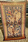Vintage Pictorial Tribal Carpet,Beautiful Hand Knotted Natural Vegetabe Dye Wall