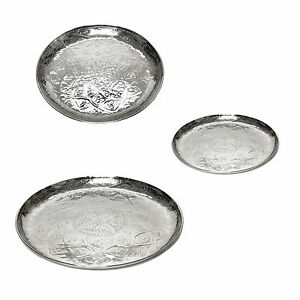 Serving Tray Round from Aluminum Oriental Tray Candle Tray Decoration