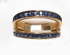 1.05CT set stackable blue sapphire wedding band ring guard wrap Women 14K YG