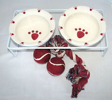 NEW 6PC DOG,CAT SMALL WHITE+RED PAW FOOD+WATER BOWL+METAL STAND+2 BALLS+ROPE TOY