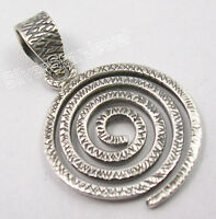 Sterling Silver 925 hammered Spiral Pendant.