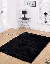 LARGE THICK BLACK SOFT SHINY SHAGGY SPARKLE RUG 160x220