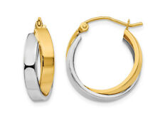 14k Two-tone White and Yellow Gold Hoop Earrings