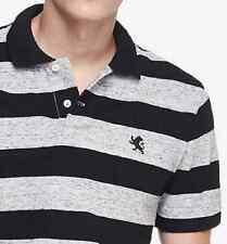 NWT【 M 】Express Men's Heathered Stripe Small Lion Pique Polo Shirt