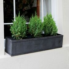 Vence Stylish Galvanised Metal Window Box Flower Herb Planter  - Large 90cm