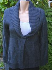 Katies GREY Rib SHAWL Cardigan 1 Button Size S-12 NEW rrp&39.95