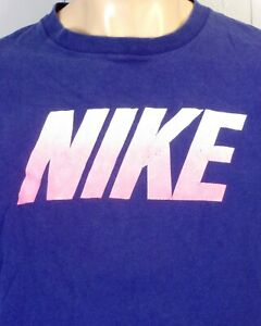 vintage 80s 90s single stitch Nike Gray Tag Spell Out Block Letter T-Shirt sz L