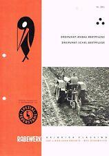 Rabewerk Dreipunkt Anbau-/ Schäl-  Beetpflüge, orig. Prospekt 1963