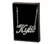 """Name Necklace """"KYLIE"""" - 18ct White Gold Plated - Identity Crystals Jewellery"""