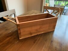 Handcrafted Farmhouse Cedar Wooden Flower Planter Box with Rope Handles