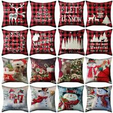 "18""Christmas Pillow Case Sofa Cushion Covers Home Xmas Snowflake Santa Elk Decor"