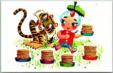 Vintage SAMBO'S RESTAURANT Postcard Sambo / Tiger / Pancakes - 1974 Cancel