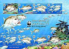 Kiribati 2012 MNH Giant Trevally WWF 8v M/S Marine Fish Stamps