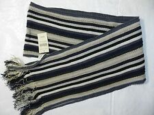 WOMENS STRIPED knit scarf gray black & white = COLDWATER CREEK NEW