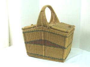 Vintage Natural Wicker Woven Rattan Picnic Basket 2 Lids 1 Large Handle Storage
