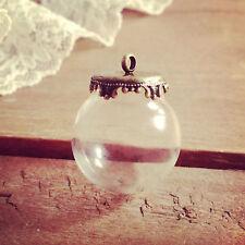 DIY Clear Globe Glass Bottle Pendant, Antique Bronze Top, Terrarium Apothecary